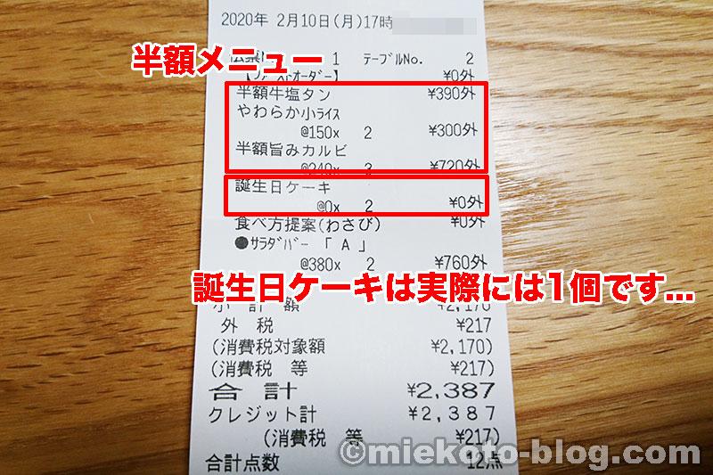 あみやき亭 平日半額 キャンペーン 誕生日ケーキ